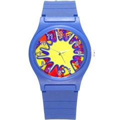 Embroidery Dab Color Spray Round Plastic Sport Watch (s)