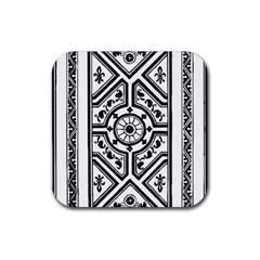 Monastic Antique Scroll Fruit Rubber Square Coaster (4 Pack)