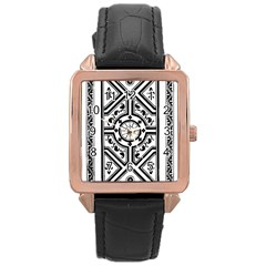 Monastic Antique Scroll Fruit Rose Gold Leather Watch