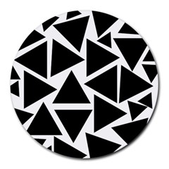 Black Triangle Round Mousepads