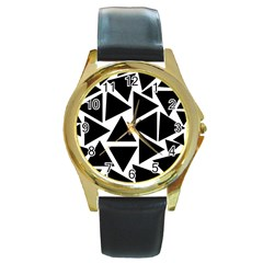 Black Triangle Round Gold Metal Watch