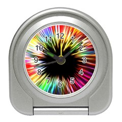 Color Background Structure Lines Travel Alarm Clock by Simbadda