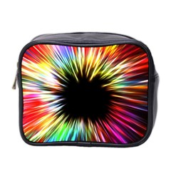 Color Background Structure Lines Mini Toiletries Bag (two Sides) by Simbadda