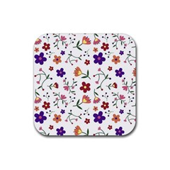 Flowers Pattern Texture Nature Rubber Coaster (square)