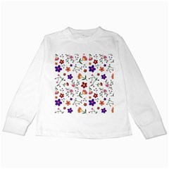 Flowers Pattern Texture Nature Kids Long Sleeve T Shirts
