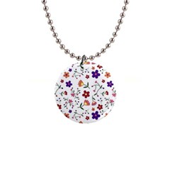 Flowers Pattern Texture Nature Button Necklaces