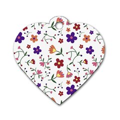 Flowers Pattern Texture Nature Dog Tag Heart (one Side)