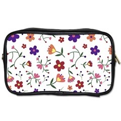 Flowers Pattern Texture Nature Toiletries Bag (two Sides) by Simbadda
