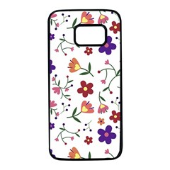 Flowers Pattern Texture Nature Samsung Galaxy S7 Black Seamless Case by Simbadda