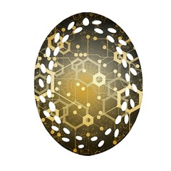 Block Chain Data Records System Oval Filigree Ornament (two Sides) by Simbadda