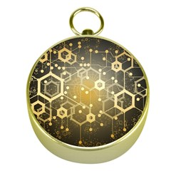 Block Chain Data Records System Gold Compasses by Simbadda