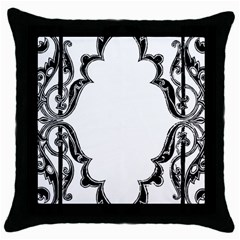 Holbein Antique Scroll Fruit Throw Pillow Case (black)