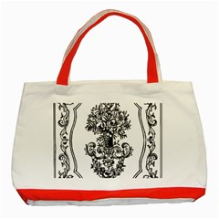 Floriated Antique Scroll Fruit Classic Tote Bag (red) by Simbadda