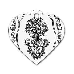 Floriated Antique Scroll Fruit Dog Tag Heart (one Side)
