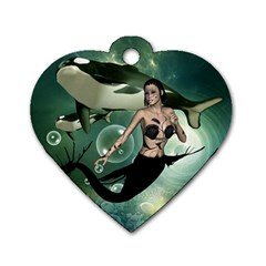 Wonderful Dark Mermaid With Awesome Orca Dog Tag Heart (one Side) by FantasyWorld7