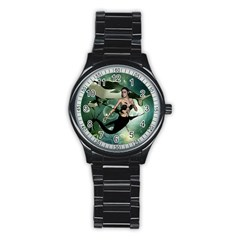 Wonderful Dark Mermaid With Awesome Orca Stainless Steel Round Watch by FantasyWorld7