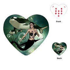 Wonderful Dark Mermaid With Awesome Orca Playing Cards (heart)