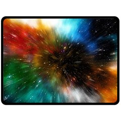 Universe Galaxy Sun Star Movement Double Sided Fleece Blanket (large)  by Simbadda