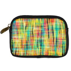 Yellow Blue Red Stripes                                                   Digital Camera Leather Case by LalyLauraFLM