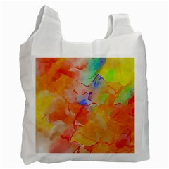 Orange Red Yellow Watercolors Texture                                                        Recycle Bag (one Side)
