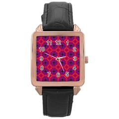 Retro Abstract Boho Unique Rose Gold Leather Watch  by Simbadda