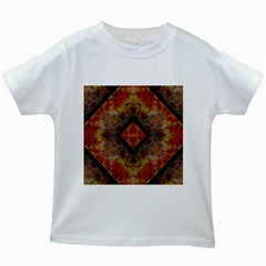 Autumn Kaleidoscope Art Pattern Kids White T Shirts