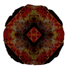 Autumn Kaleidoscope Art Pattern Large 18  Premium Flano Round Cushions by Simbadda