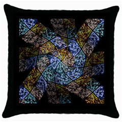 Multi Color Tile Twirl Octagon Throw Pillow Case (black) by Simbadda