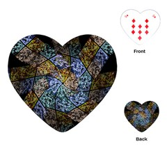 Multi Color Tile Twirl Octagon Playing Cards (heart) by Simbadda
