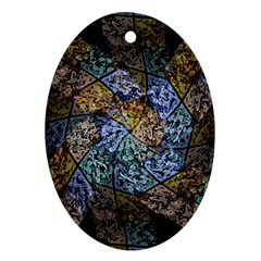 Multi Color Tile Twirl Octagon Oval Ornament (two Sides) by Simbadda
