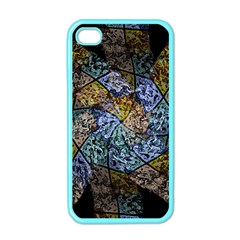 Multi Color Tile Twirl Octagon Apple Iphone 4 Case (color) by Simbadda