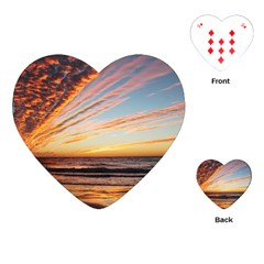 Sunset Beach Ocean Scenic Playing Cards (heart) by Simbadda