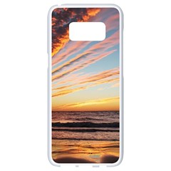 Sunset Beach Ocean Scenic Samsung Galaxy S8 White Seamless Case by Simbadda