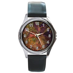 Abstract Colorful Art Design Round Metal Watch by Simbadda
