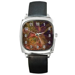 Abstract Colorful Art Design Square Metal Watch by Simbadda