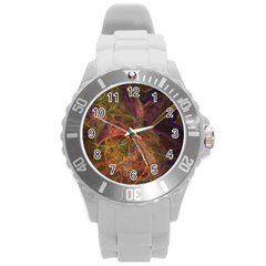 Abstract Colorful Art Design Round Plastic Sport Watch (l) by Simbadda
