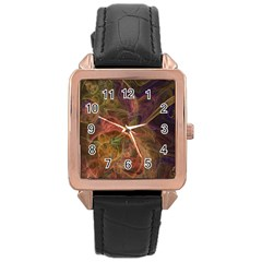 Abstract Colorful Art Design Rose Gold Leather Watch  by Simbadda