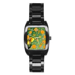 Background Design Texture Tulips Stainless Steel Barrel Watch by Celenk