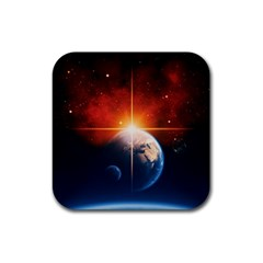 Earth Globe Planet Space Universe Rubber Coaster (square)  by Celenk