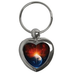 Earth Globe Planet Space Universe Key Chains (heart)  by Celenk