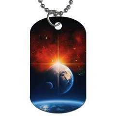 Earth Globe Planet Space Universe Dog Tag (one Side)
