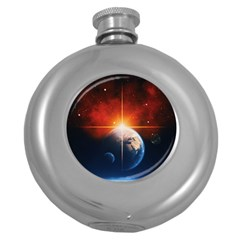 Earth Globe Planet Space Universe Round Hip Flask (5 Oz) by Celenk