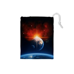 Earth Globe Planet Space Universe Drawstring Pouch (small)