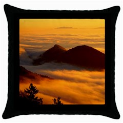 Fog Clouds Sea Of Fog Mountain Throw Pillow Case (black)