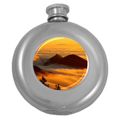 Fog Clouds Sea Of Fog Mountain Round Hip Flask (5 Oz)