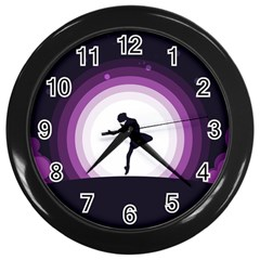 Woman Moon Fantasy Composing Night Wall Clock (black) by Celenk