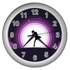 Woman Moon Fantasy Composing Night Wall Clock (silver) by Celenk