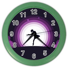 Woman Moon Fantasy Composing Night Color Wall Clock by Celenk