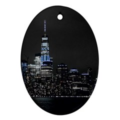 New York Skyline New York City Oval Ornament (two Sides) by Celenk