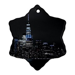 New York Skyline New York City Snowflake Ornament (two Sides) by Celenk